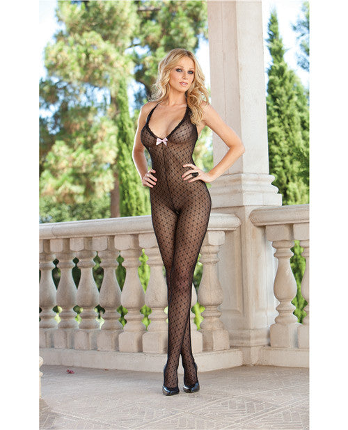 Dotted Sheer Halter Bodystocking W/bow Detail & Open Crotch Black O/s