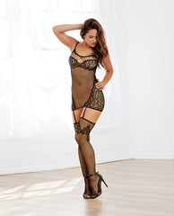 Stretch Fishnet Garter Dress W-attached Garters & Thigh High Stockings Black O-s
