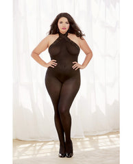 Semi Sheer Halter Bodystocking W-snap Closure, Adjustable Lace Up Detail Black Qn
