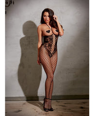Open Cup Bodystocking W-knitted Lace, Fishnet Legs, Open Crotch & Adjustable Halter Ties Black O-s