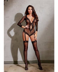 Stretch Fishnet Lng Sleeved Romper W-ribbn Tie Frnt Clsure, Atched Grters & Thighs High Black O-s