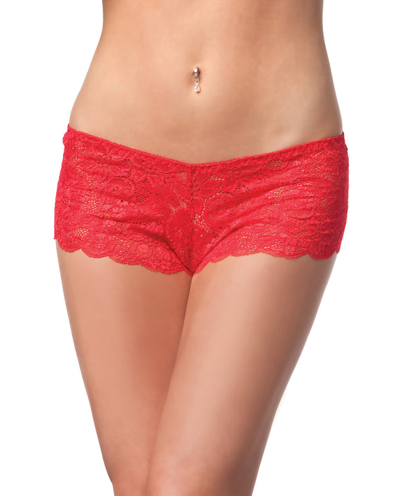 Low Rise Stretch Scallop Lace Booty Short Red Xl