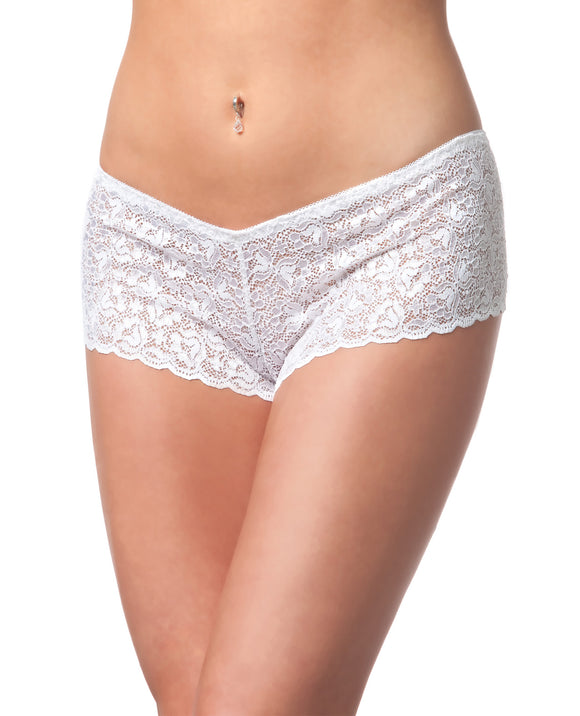 Low Rise Stretch Scallop Lace Booty Short White O-s