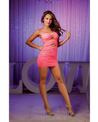 Rouched Halter Tie Dress W-front Cut Outs Flamingo Pink Md