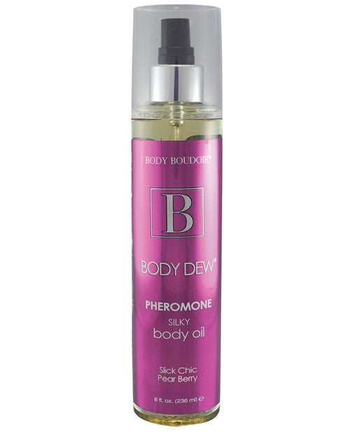 Body Dew Silky Body Oil W/pheromones Mist Bottle - 8 Oz Slick Chic Pearberry