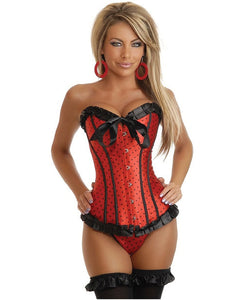 Strapless Polka Dot Corset W/front Busk Closure & Lace-up Back, Thong Included Blk/red Sm