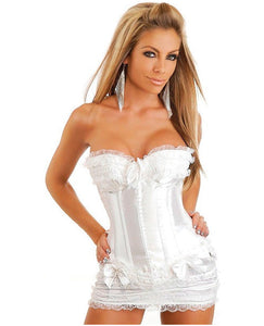 Burlesque Corset W/bows, Hidden Side Hook & Eye Closure, Lace-up Back, Thong & Skirt White Md