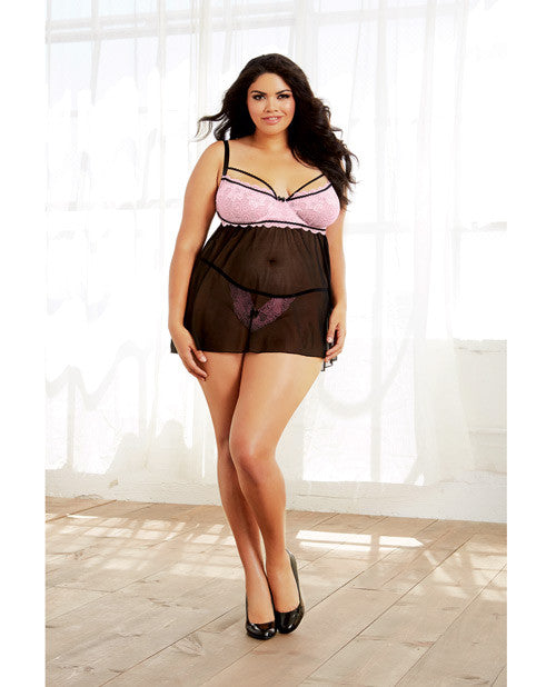 Stretch Lace & Spandex-mesh Babydoll W-underwire & Adjust Straps & Thong Black-vintage Pink 2x
