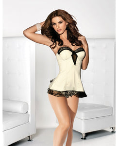 Bustier Dress W/lace Up Back W/cotton Crotch Full Back Panty Ivory/black Sm
