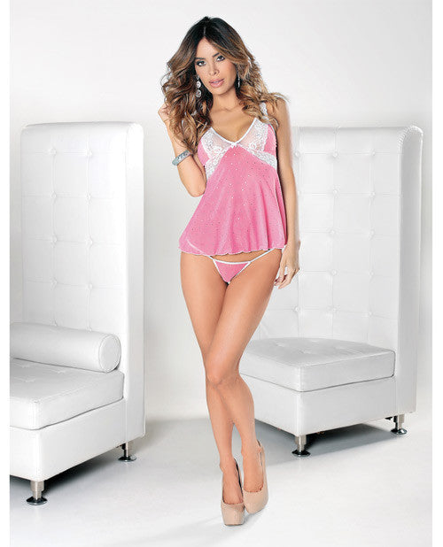 Cami Set W/open Back & Cotton Crotch G-string Pink/white Sm