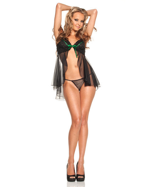 Stretch Lace Babydoll W/underwire Cups, Adjustable Straps & Sheer Thong Black/emerald Md