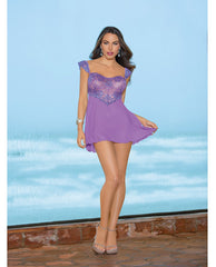 Lace Up Back Chemise Lilac Breeze Lg