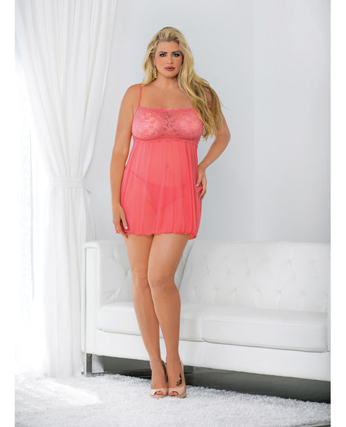 Straight Neck Babydoll Coral-pink 1x