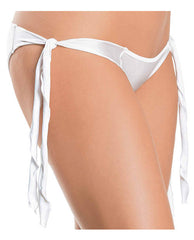 Flutter Sides Rouched Back Bikini White O-s