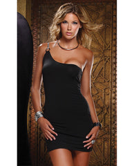 One Shoulder Mesmerize Mini Dress Black Lg