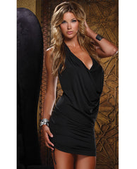 Sexy Cowl Neck Intrigue Dress Black Lg