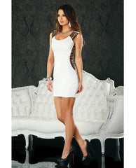 Mini Dress W/shoulder & Side Straps White Sm