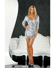 Low Cut Sequin Dress Silver Xs