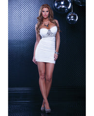 Halter Stone Ruched Dress White Lg
