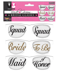 Bridal Party Mesh Glasses - Set Of 6