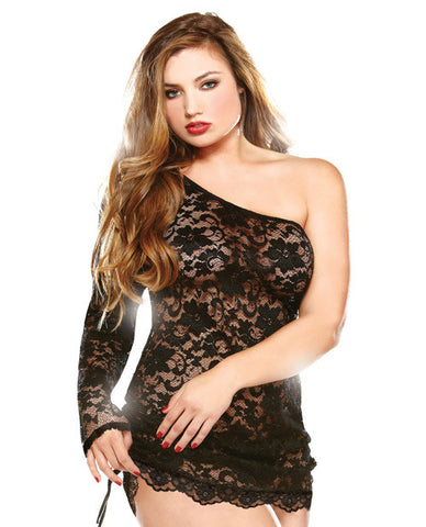 Off The Shoulder Lace Dress W/adjustable Detail & Thong Black 1x/2x