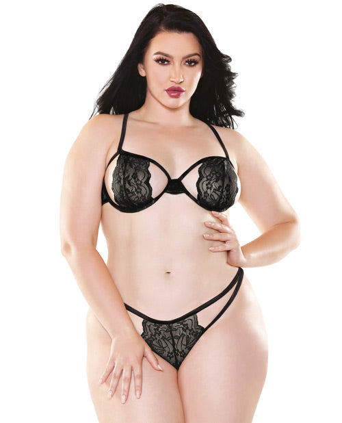 Curve Belle Stretch Lace Bra W-cutout Panty Black Qn