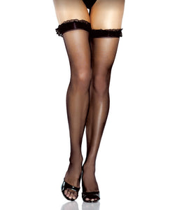 Desire Hosiery Sheer Thigh Highs W-ruffle Trim Black O-s