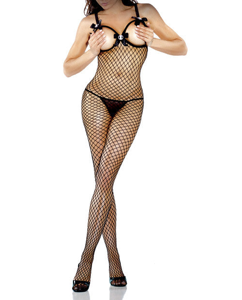 Desire Hosiery Diamond Net Open Cup Bodystocking Black Qn