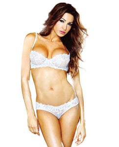 Underwire Embroidered Bra & Panty W/veil Detail White Lg