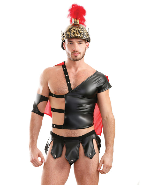 Mens Play Gluteus Maximus Trojan Harness Cape Top, Skirted Underwear & Arm Cuff Black Sm