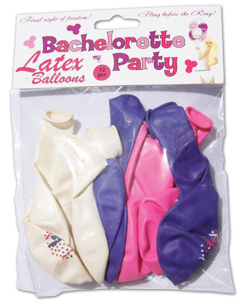 Bachelorette Party Latex Balloons Assorted Colors - Pack Of 12