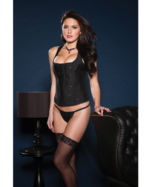 Brocade Racerback Corset W/hook & Eye Closure, Adjustable Lace-up Back & G-string Black 32