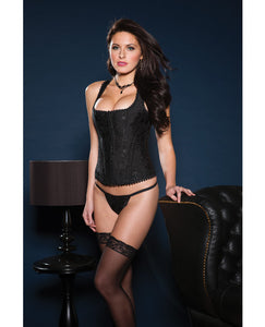 Brocade Racerback Corset W/hook & Eye Closure, Adjustable Lace-up Back & G-string Black 36