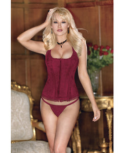 Brocade Racerback Corset W/hook & Eye Closure, Adjustable Lace-up Back & G-string Scarlet 34