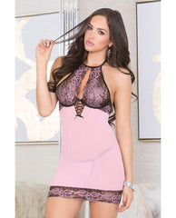 Lace & Mesh Chemise W-lace Soft Cups, Adjustable Halter Tie & G-string Pink-black Md