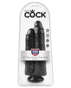 "King Cock 9"" Two Cocks One Hole - Black"