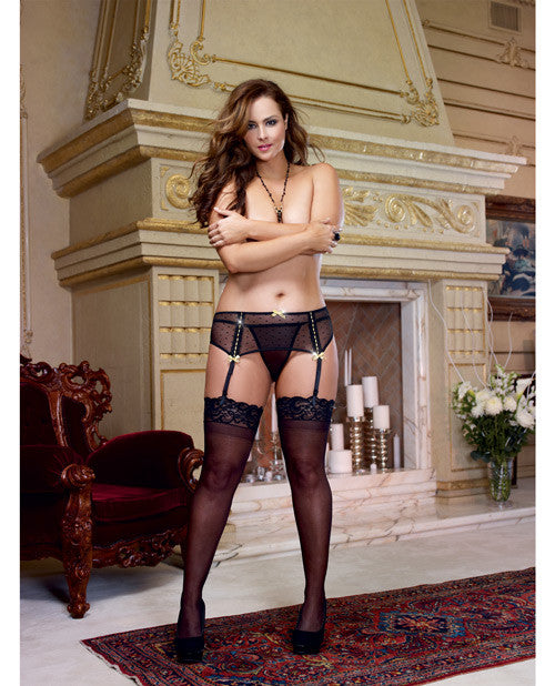Dotted Mesh Garter Belt W-beaded Lace & Metallic Gold Accents (thong Not Included) Black Qn