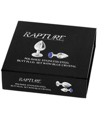 Rapture Polished Stainless Steel Butt Plug Set - Blue Crystal Set Of 2