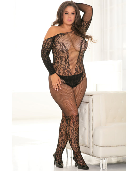 Rene Rofe Make You Melt Bodystocking Black 1x