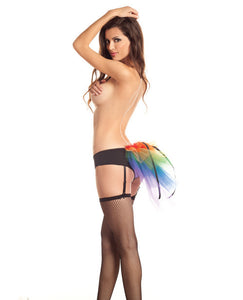 Bustle Panty W/garters & Bow Detail Rainbow S/m