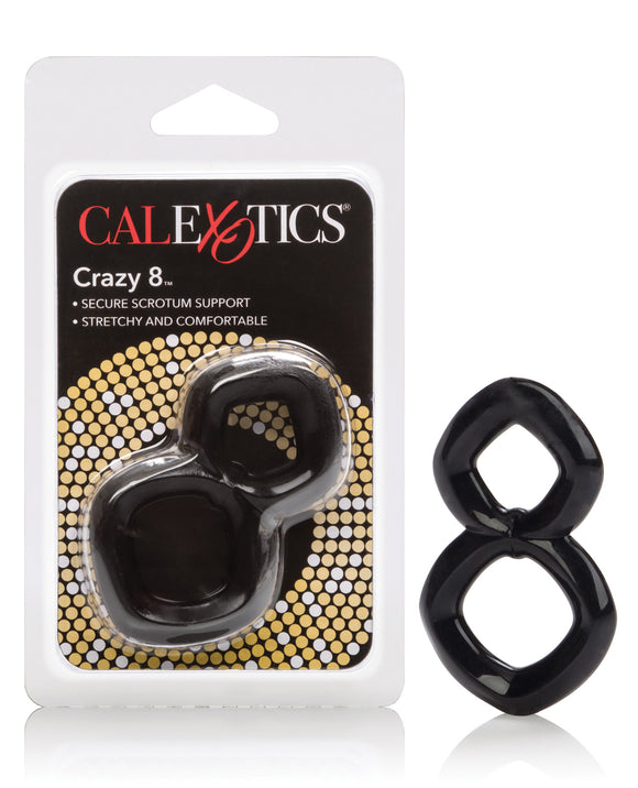 Crazy 8 Enhancer Double Cock Ring - Black