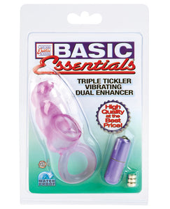 Basic Essentials Triple Tickler Vibrating Dual Enhancer - Purple