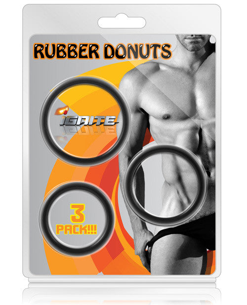 Si Novelties Rubber Donuts - Asst. Sizes Pack Of 3