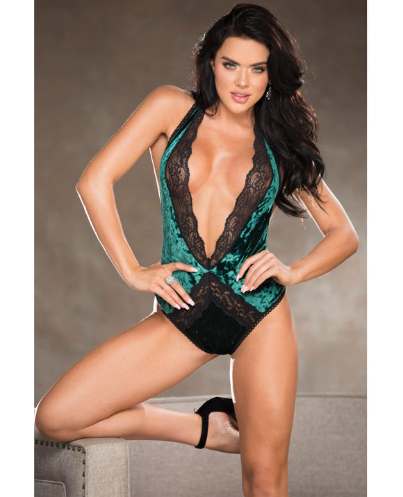 Holiday Stretch Velvet Teddy W-lace Trimmed Front, Low Back, Neck Closre & Thong Back Jade Md