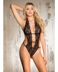 Stretch Lace Teddy W-deep V Front, Attached Elastic Strips, Halter Tie & String Back Black Lg