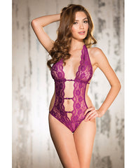 Stretch Lace Teddy W-deep V Front, Attached Elastic Strips, Halter Tie & String Back Orchid Sm