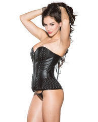 Faux Leather Corset W-lace Up Back & G-string Black Lg