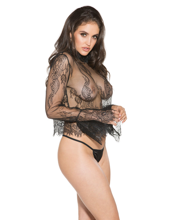 Sheer Lace Long Sleeve Shirt Black Sm
