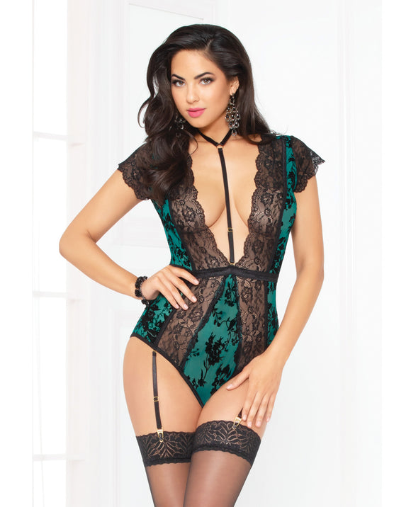 Holiday Flocked Mesh Lace Teddy W-removble Harness, Gartr & Snap Crotch Green-black Xl
