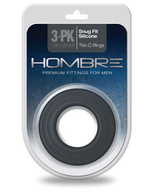 Hombre Snug Fit Silicone Thin C Rings - Charcoal Pack Of 3